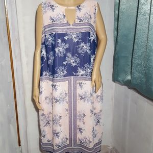 NWT Avenue Pastel Pink & Navy Floral Shift Dress